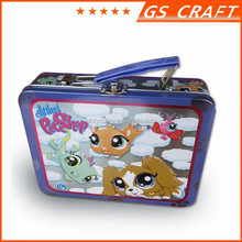 Rectangular printed logo metal tin lunch box with lock
