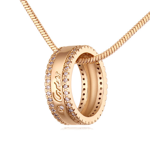 Top Brand Design Imitation Fashion Jewelry High Quality Micro Paved Ring Necklace for Girl