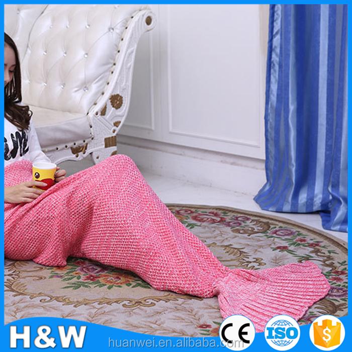 90x50 cm Rosa hermosa mantas de cola de sirena hecho punto bebé ...