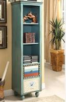 Custom Antique Wooden Tall Narrow Wood Bookcase With Drawers