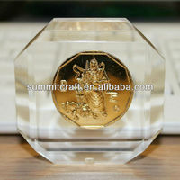 Custom acrylic paperweight with coins