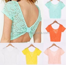Beautiful Custom Fancy Elegant Fashion Summer Women Short Sleeve O-Neck Flower Floral Lace Crochet Sexy Blouse Tops Casual Wear