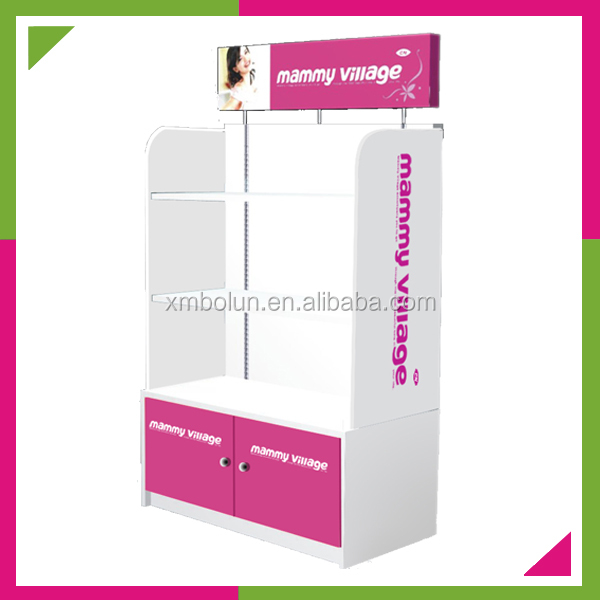 Custom 2014 cosmetic display furniture,bag store display furniture 3 layers wood retail store display cabinet