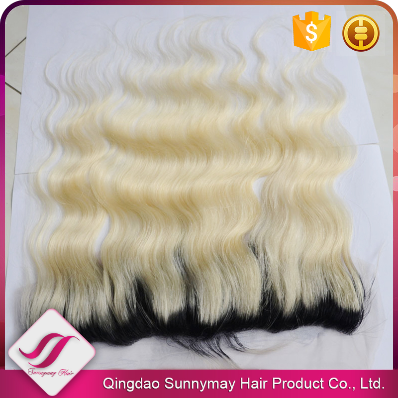 Sunnymay Stock #1Tone #613 Blonde With Black Roots 13x4 Body Wave Russian Virgin Hair Ombre Lace Frontals