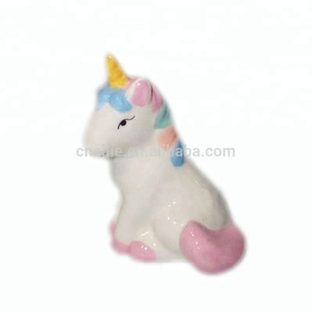 Ceramic unicorn statue dollhouse miniature figurine