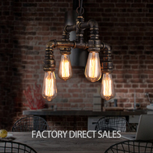 2017 New design American creative Loft retro industrial four head water pipes pendant light for Bar Cafe