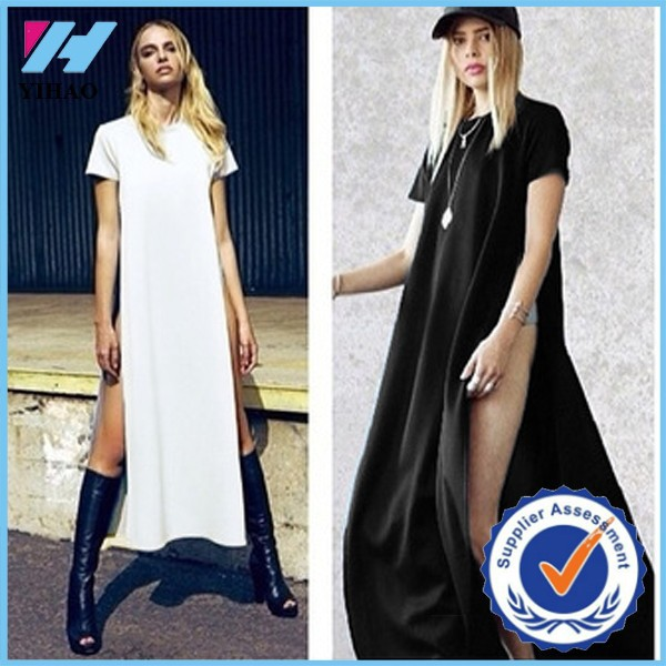 Yihao 2015 Celebrity Sexy Women Dresses High Side Splits Maxi Long Dress vestidos de fiesta Casual Clubwear White Black