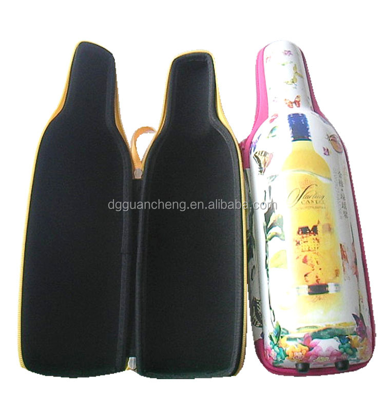 GC---Hot stamping logo Fashion PU leather customize bottle EVA box