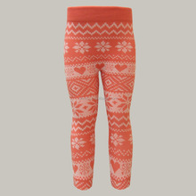 Girls Seamless Winter Snowflake Jacquard Warm Thick Fleece Lined Leggings