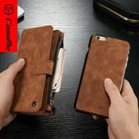 High quality leather wallet for iphone 6 case multifunction wallet stand phone case