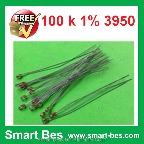 500pcs/lot Smart Bes NTC thermistor single-ended glass sealing 2 mm diameter 100 <strong>k</strong> 1% 3950