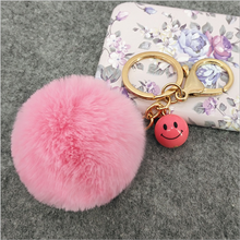 Yongze yiwu mobile phone 5cm fur ball wholesale cute plush fur key chain rabbit puff fur ball keychain