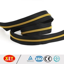 shiny gold zip black tape customizsed length nylon zipper