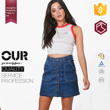 China Professional Factory OEM Service Bule Two Pocket Button Through Women Mini Denim Skirt