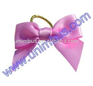 satin butterfly ribbon bow with metallic elastic stretch cord loop,neck wrapping decoration