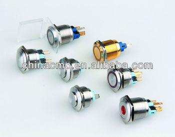 Stainless steel 25mm LED push button switches 5A/250V (TUV,CE)