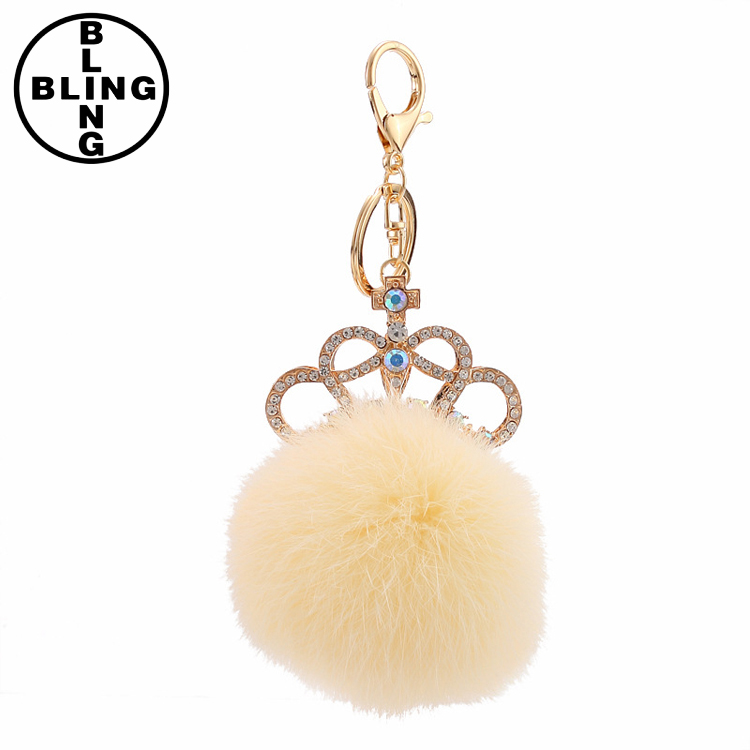 >>>2017 New femme Crystal Ball Keychain Imperial crown Pom pom rabbit Fur Ball Key Chain Ring Bag Pendant/