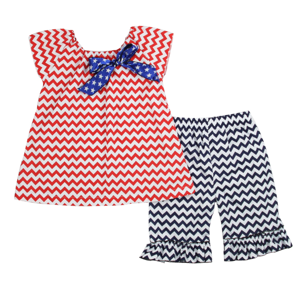 Wholesale brand name clothes baby girls outfit patriotic summer fashion clothes