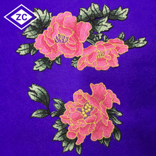 Alibaba embroidery design rose pattern applique embroidery flower patches for clothing