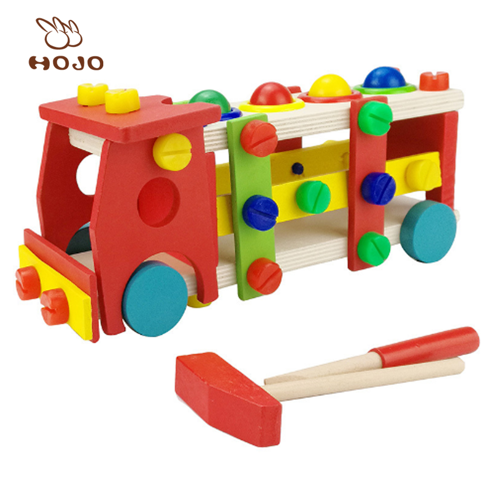 Kid Toys Educational Wooden Baby Toy Disassembly Screw Nut Vehicle Car Knock Ball Toy For Children