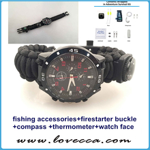Latest fashion wholesale black paracord survival bracelet watch