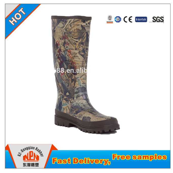 Guangzhou Dongqian Fashion Rubber Boots Camo Outdoor Boots Waterproof Rubber Rain Boots For Men