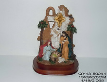 high quality 3d statue of holy family on wood base religious figurines for sale