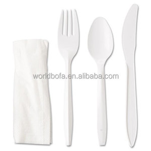 Disposable plastic cutlery kit heavyweight cutlery utensil set with fork spoon knife napkin salt pepper