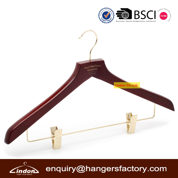 LINDON flat head luxury red wood clothes women dress hanger