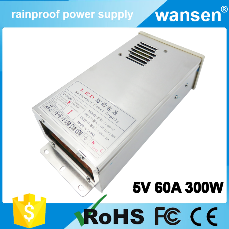 Hot sell 300w 5v led waterproof power supply 5v 60a FCC approve
