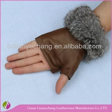 brown color fashion sheepskin women leather gloves cut finger