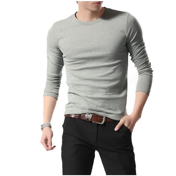 Hot sale 100% Cotton Custom Fashion 2018 Men popular T Shirts Fitness Long Sleeve T shirts for men