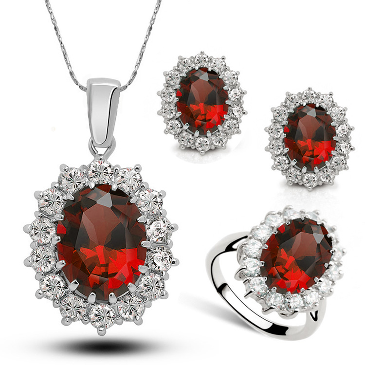 Crystal jewelry set of 3 oval pendant necklace couple rhinestone earring stud big gemstone rings