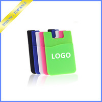 Different Custom Design Logo Silicone Rubber Credit Card Holder, custom logo cheap portable card 3m sticky silicone smart wallet