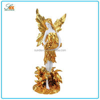2016 best sell indoor resin statues plated gold angel