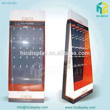 Corrugated cardboard floor display,hook display stand for Mobile phone accessories promotion