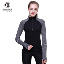 2017 Hot Fashion Women Fitness Apparel Half Zipper Long Sleeves Thumb Holes Yoga Sweatshirt Jacket without Hood