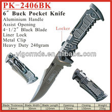 "(PK-2406BK) 6"" Heavy Duty Assist Opening Folding Pocket Knife"