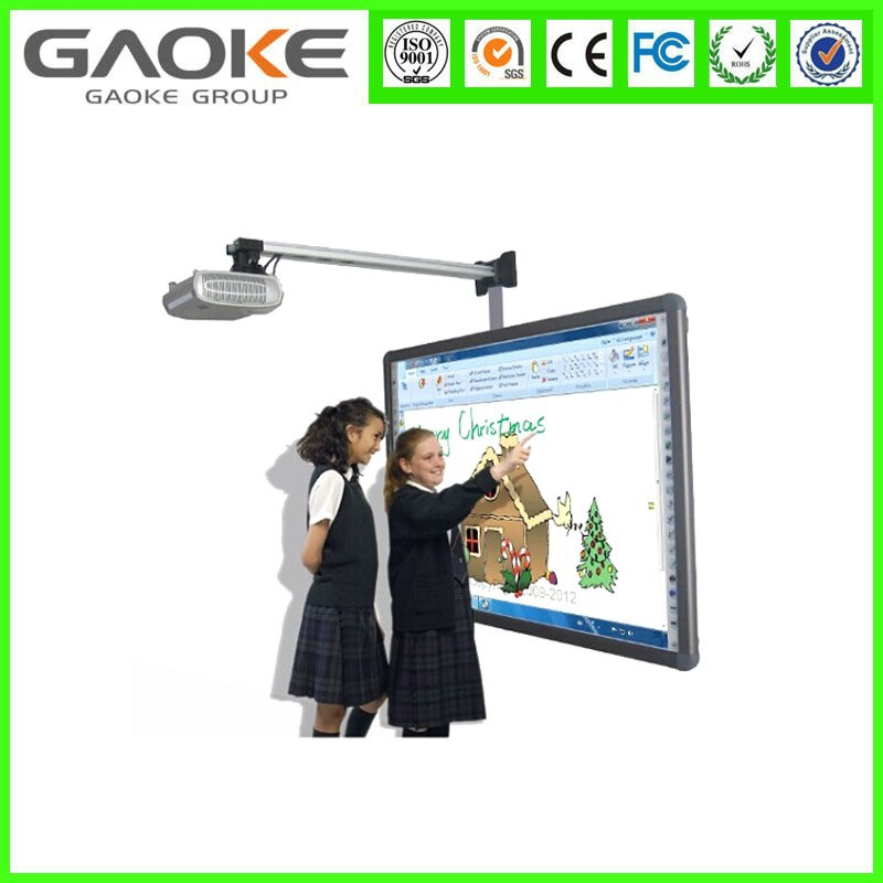 Gaoke interactive projector screen touch whiteboard with short throw projector and mobile stand for education