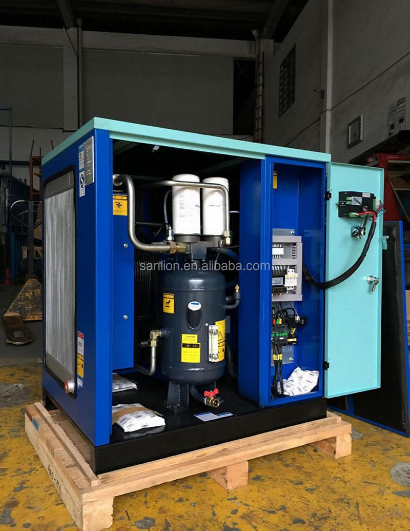 15HP Tank Mounted Mini Screw Air Compressor with Air Dryer