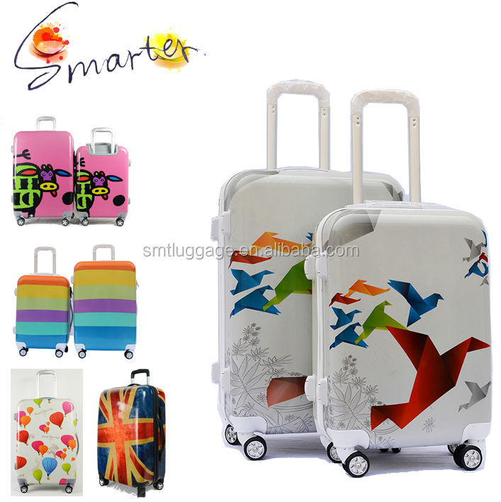 Stylish Crane Printing ABS/PC Trolley Luggage Suitcase