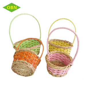 High Quality Customized Easter Egg Basket Wicker Gift Basket with Handle