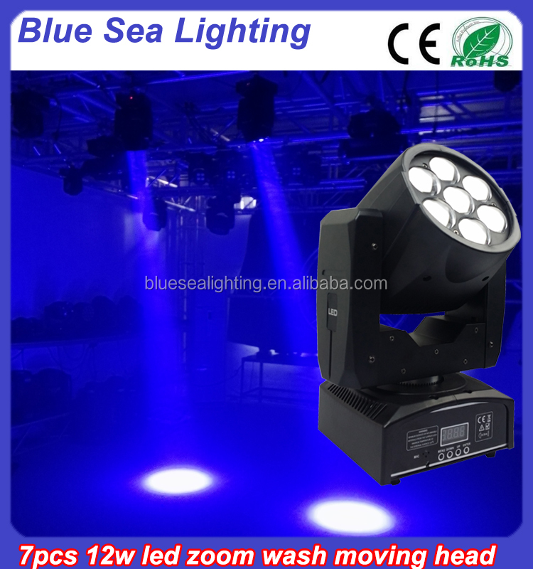 Disco light high power 7*12w 4in1 rgbw dmx Zoom Wash beam led moving head