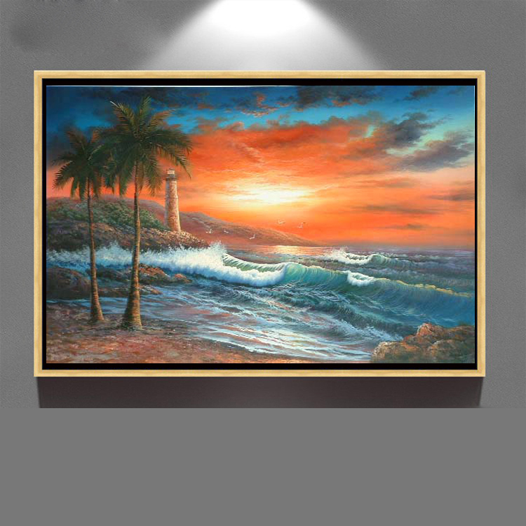 home decor wall art canvas framed Beautiful sunrise seascape oil painting