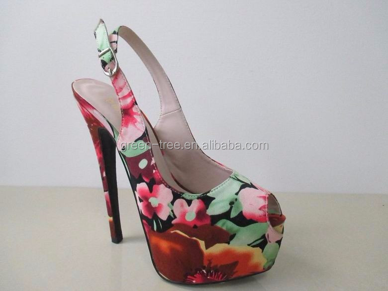 New Fashion Women Sexy Floral Stain Peep Toe High Heel Dress Shoes
