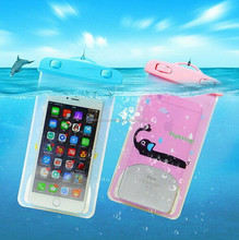 New arrival products wholesale custom cute design transparent waterproof PVC dry bag for mobile phones for swimming