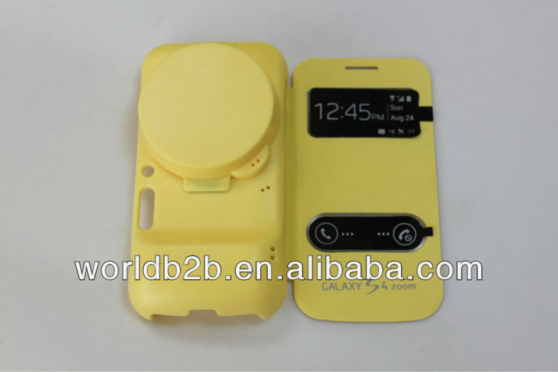 high quality S4 zoom case, View flip leather case for Samsung s4 zoom