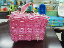 Pink blow up pvc tote bag inflatable cosmetic beach bag bubble bag for lady
