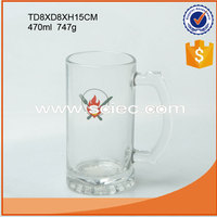 500cc beer mug with decaled logo customized beer drinking glass