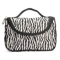 Zebra Stripe Portable Makeup Cosmetic Case Storage Travel Bag with mirror